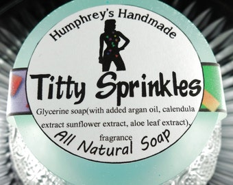 TITTY SPRINKLES soap, Buttercream and Cake Scented Shave & Shampoo Soap, Round Teal Puck, Magical Scent, All In One Stripper Soap