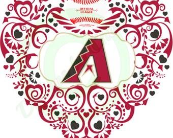 Baseball (Arizona) Ornate Heart