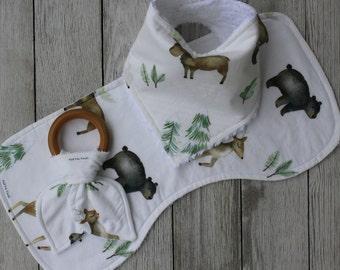 Woodland Baby Boy Gift Set   Woodland Baby   Baby Bear Bib   Deer Bib   Woodland   Baby Boy   Baby Boy Gift   Baby Boy Shower Gift   Bibs