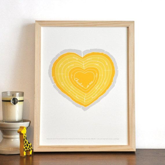 Heart Stump Modern Family Tree Rings nursery wall art print .