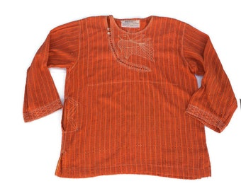 Vintage Boho Tunic Sangam Imports Mens Small Pakistan Embroidered Shirt Hippie Tunic Orange Shirt