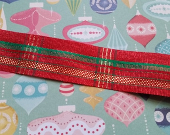 2 Yds Gorgeous Vintage Shimmery Red Plaid Ribbon Trim | Gold