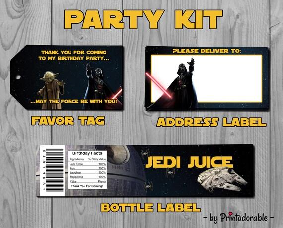 Star Wars Party Kit - Star Wars Party Set - Star Wars - Star Wars Tag - Star Wars Label - Darth Vader - Star Wars Birthday - Yoda