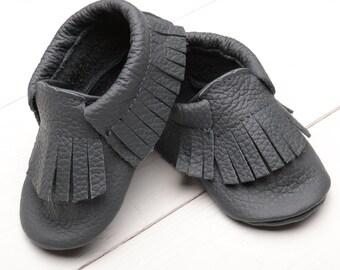 SALE -50% Dark Grey Leather Baby Moccasins, Girls', Toddler Moccasins, Boys', Soft sole Leather Baby Shoes Shower Gift, Infant Mocassin Bébé