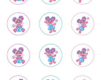 Abby Cadabby  Sesame Street  Birthday Party Tags Cupcake Toppers Stickers DIY Printable File