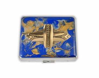 Art Deco Weekly Pill Box inlaid in Hand Painted Cobalt and Gold Enamel Quartz Inspired Design Personalized and Color Options Available