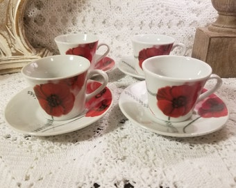 Apamco Imports red floral cups and saucers