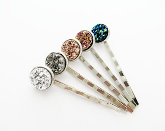 Druzy Bobby Pin Pair - Choose Your Color