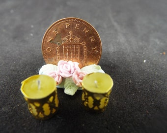 1/12 Dollhouse Candles in Holders. Yellow