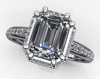 maya ring - 1.75 carat emerald cut NEO moissanite engagement ring, vintage style engagement ring