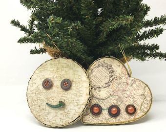 Handmade Decorative Ornaments of Vintage Buttons and Artifacts
