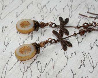 Dragonfly earrings, Vintaj earrings, Vintaj jewelry, Czech Glass Beads, Summer jewelry, Picasso jewelry