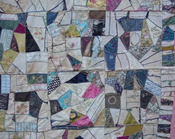 Crazy Quilt – Embroidered – Greenbrier Stich – Tacked – Tattered – Loved