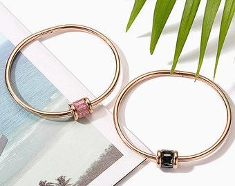 Shimmering Quartz Charm Bracelet (Stainless Steel) - Rose