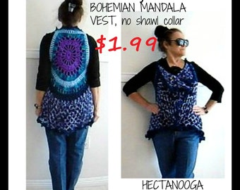 "CROCHET VEST PATTERN - Mandala vest, Bohemian vest sweater, Adult small, (30-38"" chest) #1135, Women and teens clothing, crochet supplies,"