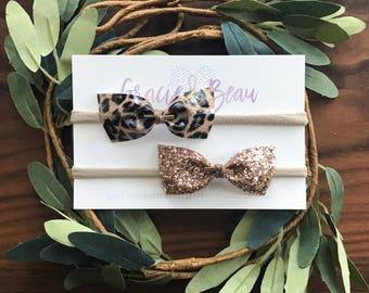 Baby Bow Set, Leather Bow, Glitter Bow, Petite Baby Bow, Baby Headband, Nylon Band, Soft Hair Bow, Cheetah Print Bow