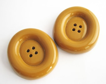 Extra large butterscotch buttons, Huge oval buttons, 46 mm, unused vintage supplies!!