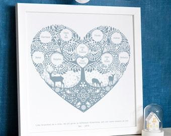 Personnalisé Woodland arbre généalogique imprimé, cadeau de fête des mères