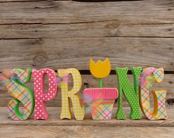 Spring Decor, Wood Letters, Spring Letter set with Tulip