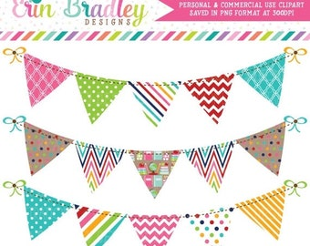 80% OFF SALE School Bunting Clipart Graphics Personal & Commercial Use Banner Flag Clip Art Set