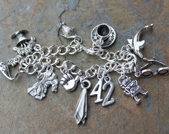 Hitchhiker's Guide to the Galaxy Inspired Silver Charm Bracelet- 42, towel, Marvin, whale, petunias, sunglasses, dolphin, mice, cup of tea