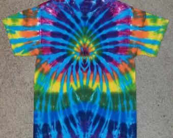 Turquoise and Rainbow Burst Tie Dye