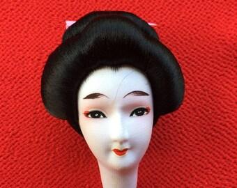 Japanese Doll Head - Vintage Doll Head - Femal Doll Head - Woman Doll Head -  (D16-17)