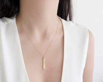 Personalized necklace, dainty necklace, name necklace, message bar necklace, gold bar necklace, initial bar necklace