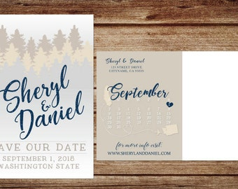 Woodsy Save the Date Postcard, Printable save the date, woods save the date, forest save the date, evergreen trees, pine tree save the date