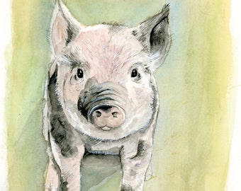 Farm Animals Kitchen Decor Mini Pig Original Watercolor Painting 8x10