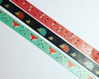"""Hedgehogs, Foxes and Arrows Oh My, Washi Tape Samples, 20"""" Increments"""