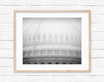 Foggy Washington DC Capitol Dome Black and White Photography Digital Print