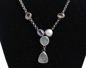 Sterling Necklace with Pearl Amethyst Citrine & Druzy