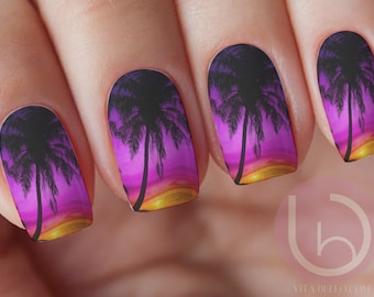 Palm Tree Nail Water Decal Nail Design Nails Press On Nail