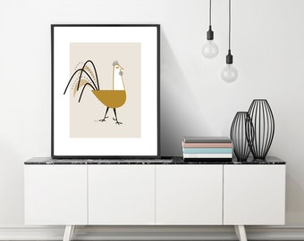 Extra Large Rooster Print, Chicken Lover Gift, Chicken Art Print, Rooster Poster