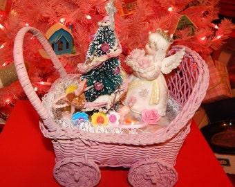 Newborn Baby Gift for Baby Nursery,Baby Shower, 1st Christmas, Vintage Pink Wicker Carriage Stroller , Angel Figurine, Bottle Brush tree