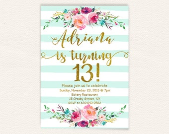 Turquoise gold glitter printable floral 13th birthday party floral 13th birthday invitations girl mint stripes gold glitter teen birthday party invites turquoise watercolor shabby rustic stripes 30a filmwisefo
