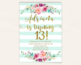 Floral 13th birthday invitations girl mint stripes gold glitter, teen birthday party invites, turquoise watercolor shabby rustic stripes 30a