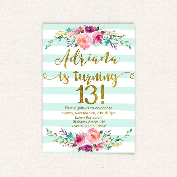 Floral 13th birthday invitations girl mint stripes gold floral 13th birthday invitations girl mint stripes gold glitter teen birthday party invites turquoise watercolor shabby rustic stripes 30a filmwisefo Choice Image