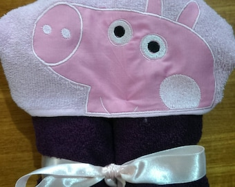 Pink Pig Hooded Towel, Towel with Hood