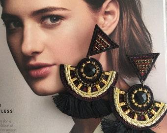 Burgundy Earrings, Christmas Gift, Tribal Earrings, Wholesale Earrings, Tassel Earrings, Tassel Jewelry, Statement Earrings, Boho Earrings