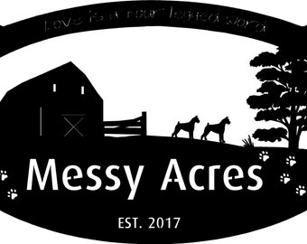 4ft Personalized Metal Sign with  Barn and  Boxer Dogs