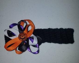 Sparkly Pumpkin Crochet Baby Headband