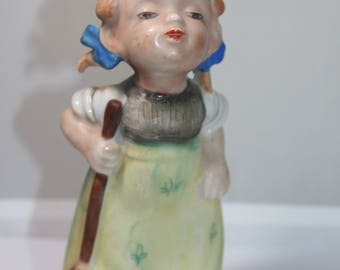 Vintage Lipper and Mann Creations Little Girl in Pigtails Cleaning w/ a Mop Made in Japan