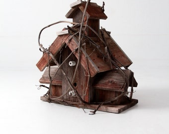 vintage folk art bird house, primitive garden decor, rustic country art