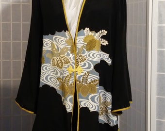 Black large silk jacket / duster; gold Asian medallions. Special occasions, recycled kimono silk, one of a kind #L76