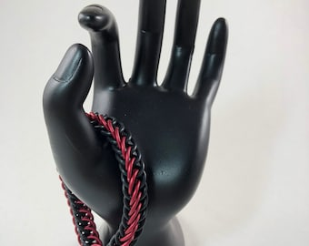 Red & Black Stretchy Chainmaille Bracelet