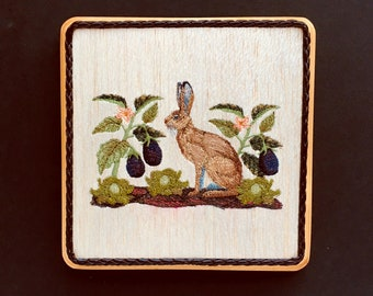 French Country Rabbit Art | Embroidery on Wood | Rustic Kitchen Decor | Farmhouse Kitchen | Country Kitchen Art | French Country Kitchen