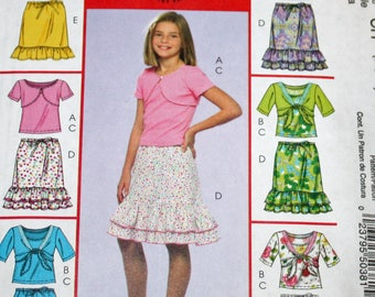 UNCUT, McCall's M5038, Sewing Pattern, Girls', Shrugs, Tank Top and Skirts, Girls' Size 7-8-10, Copyright 2006