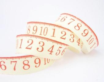 6 metres reel 18mm red vintage ruler tape measure printed cotton natural ribbon